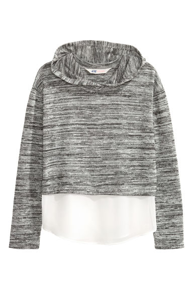 Hooded top with a chiffon trim - Dark grey marl - Kids | H&M CN 1