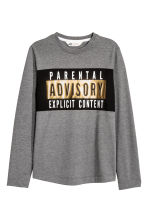 Long-sleeved printed T-shirt - Dark grey/Parental Advisory - Kids | H&M CN 2
