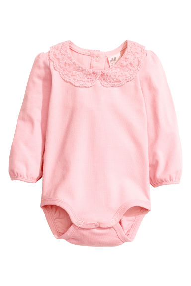 Bodysuit with a lace collar - Light pink -  | H&M CN 1