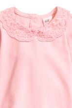 Bodysuit with a lace collar - Light pink - Kids | H&M CN 2