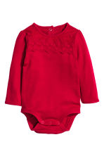 Long-sleeved body with lace - Red - Kids | H&M CN 1
