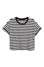 Cropped T-shirt - Black/White/Striped - Ladies | H&M 2