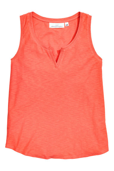 Sleeveless jersey top - Coral marl - Ladies | H&M CN 1