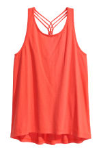 Jersey top with knot details - Coral red - Ladies | H&M CN 2