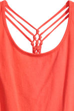 Jersey top with knot details - Coral red - Ladies | H&M CN 4