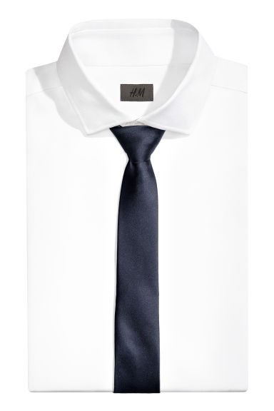 Satin tie - Dark blue - Men | H&M