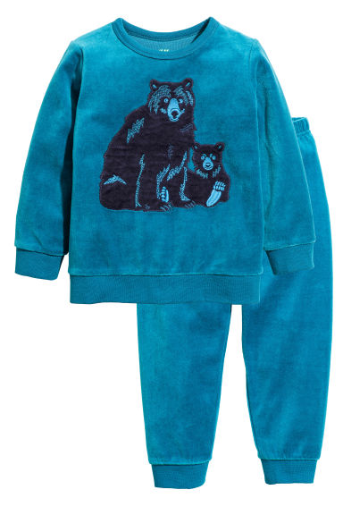 Velour pyjamas - Dark turquoise/Bear - Kids | H&M CN