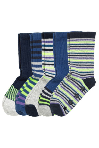 5-pack anti-slip socks - Dark blue/Striped - Kids | H&M CN 1