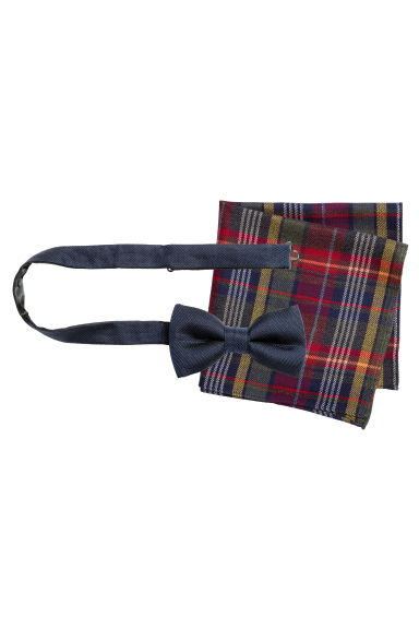 Bow tie and handkerchief - Dark blue/Checked - Men | H&M CN