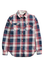 Checked cotton shirt - Dark blue/Checked - Kids | H&M CN 2