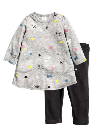 Dress and leggings - Light grey/Mouse - Kids | H&M CN 1