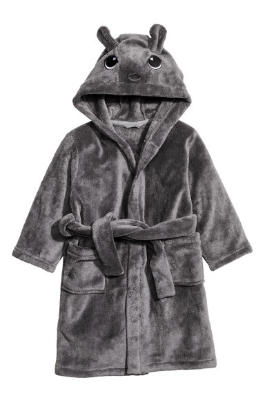 Fleece dressing gown - Dark grey - Home All | H&M CN 1