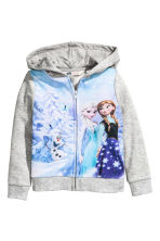 Printed hooded jacket - Grey/Frozen - Kids | H&M CN 2