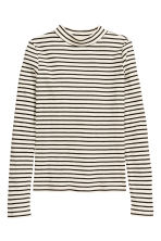 Ribbed turtleneck top - Black/White/Striped - Kids | H&M CN 1