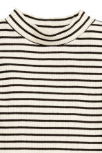 Ribbed turtleneck top - Black/White/Striped - Kids | H&M CN 2