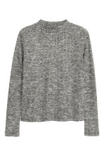 Ribbed turtleneck top - Black marl - Kids | H&M CN 1