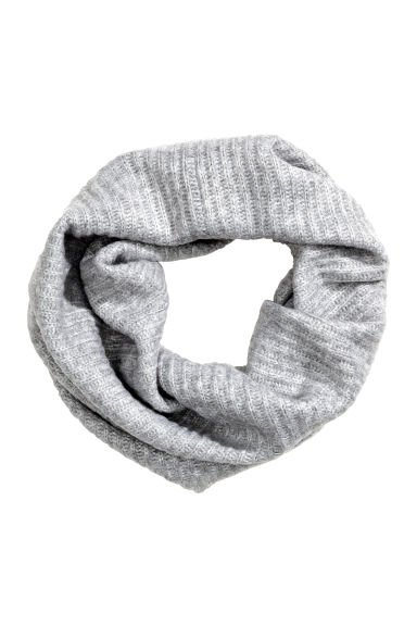 Ribbed tube scarf - Light grey marl - Ladies | H&M 1
