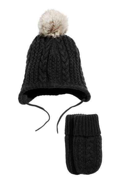 Knitted hat and mittens - Black - Kids | H&M CN 1