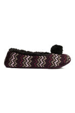 Knitted slippers - Black/Zigzag - Ladies | H&M CN 1