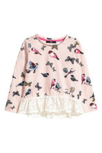 Top with a lace flounce - Light pink/Butterflies - Kids | H&M CN 2