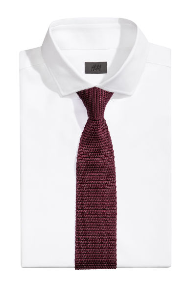 Fine-knit silk tie - Burgundy - Men | H&M CN 1