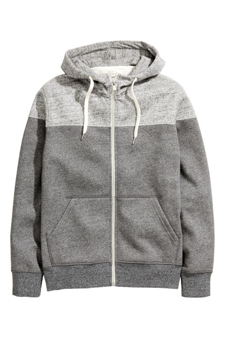Block-coloured hooded jacket