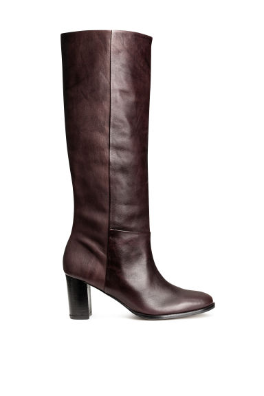 Leather knee boots - Dark brown - Ladies | H&M CN 1