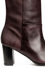 Leather knee boots - Dark brown - Ladies | H&M CN 3