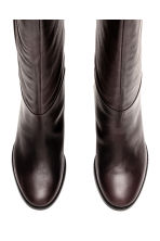 Leather knee boots - Dark brown - Ladies | H&M CN 2