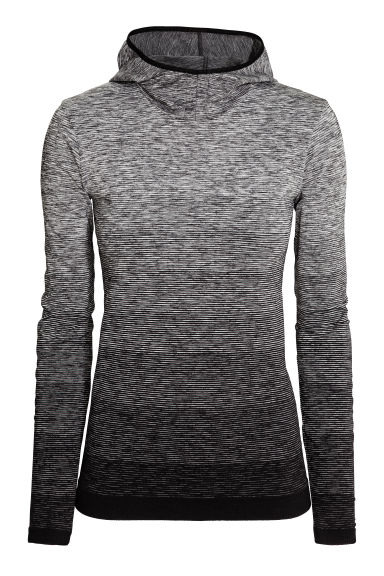 Seamless sports top - Black/Striped - Ladies | H&M CN 1