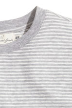 Striped linen-blend T-shirt - Light grey/White - Men | H&M CN 3