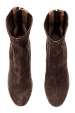 Suede boots - Dark brown - Ladies | H&M CN 2