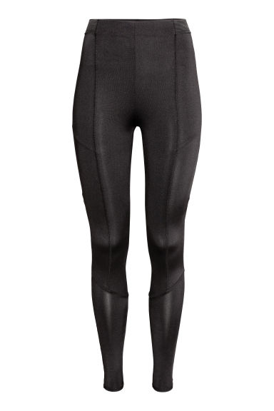 Jersey leggings - Black/Flatlock seam - Ladies | H&M CN 1