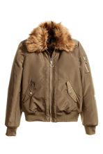 Bomber jacket with collar - Khaki green -  | H&M CN 2