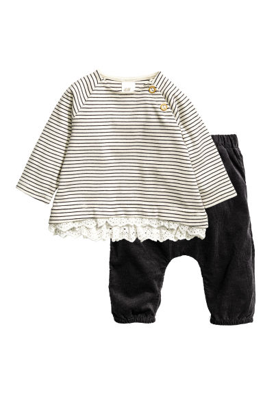 Top and corduroy trousers - Black - Kids | H&M CN 1