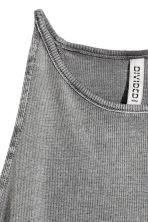 Ribbed top - Dark grey - Ladies | H&M CN 3
