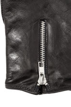 Leather gloves with a zip - Black -  | H&M CN 2