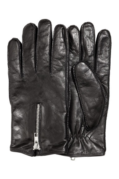 Leather gloves with a zip - Black -  | H&M CN 1