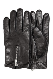 Leather gloves with a zip