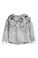 Printed sweatshirt - Grey/Glitter - Kids | H&M CN 2