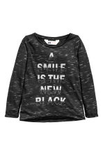 Top in jersey con stampa - Nero mélange - BAMBINO | H&M IT 2