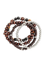 4-pack bracelets - Dark brown - Men | H&M 2