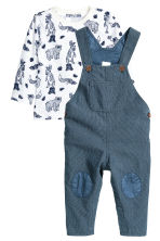 Dungarees and jersey top - Dark blue/White - Kids | H&M CN 1