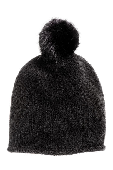Fine-knit hat with pompom - Black - Ladies | H&M CN