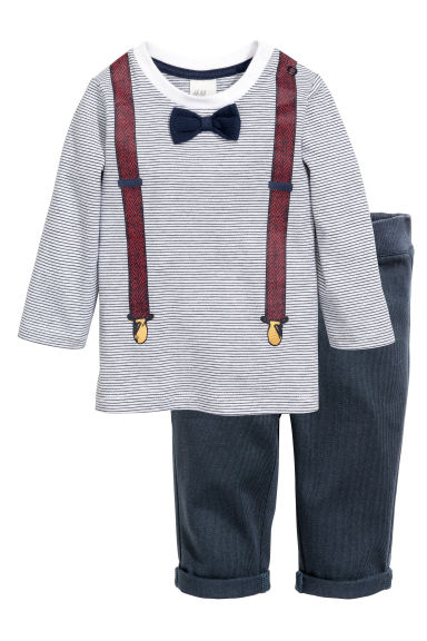 Top and trousers - White/Dark blue - Kids | H&M CN 1