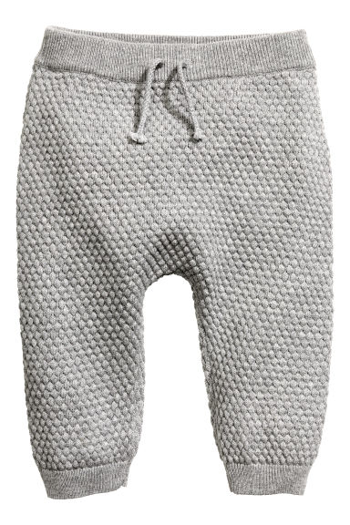 Moss-stitch knitted trousers - Grey marl - Kids | H&M CN 1