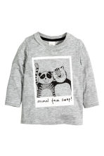 Long-sleeved T-shirt - Grey marl - Kids | H&M CN 1