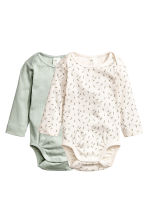 2-pack bodysuits in a box - Light green -  | H&M CN 1