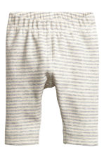 Ribbed leggings - Light grey/Striped -  | H&M CN 1