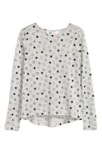 Generous fit Jersey top - Grey marl/Stars - Kids | H&M CN 1